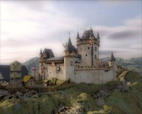 Idealisierte Rekonstruktion der mittelalterlichen Burganlage